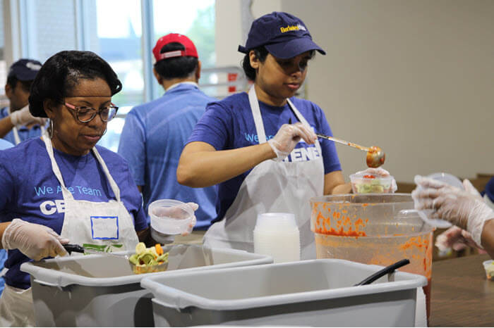 Centene employees dish out food