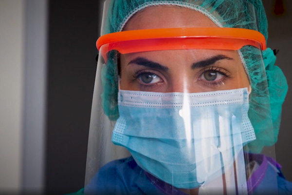 hospital worker in protective equipment