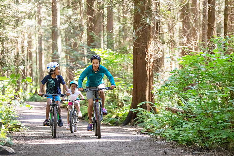 A woman and her two kids ride bikes in the forest in the sunshine