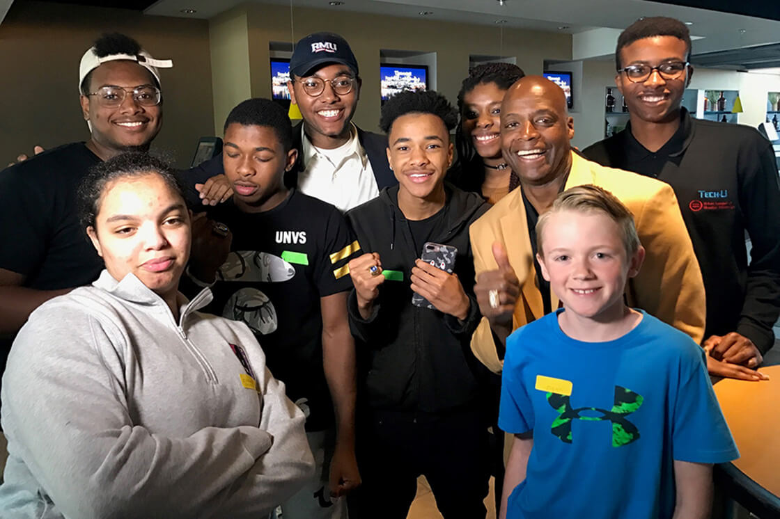 teenagers pose for photo at Strong Youth Strong Communities event