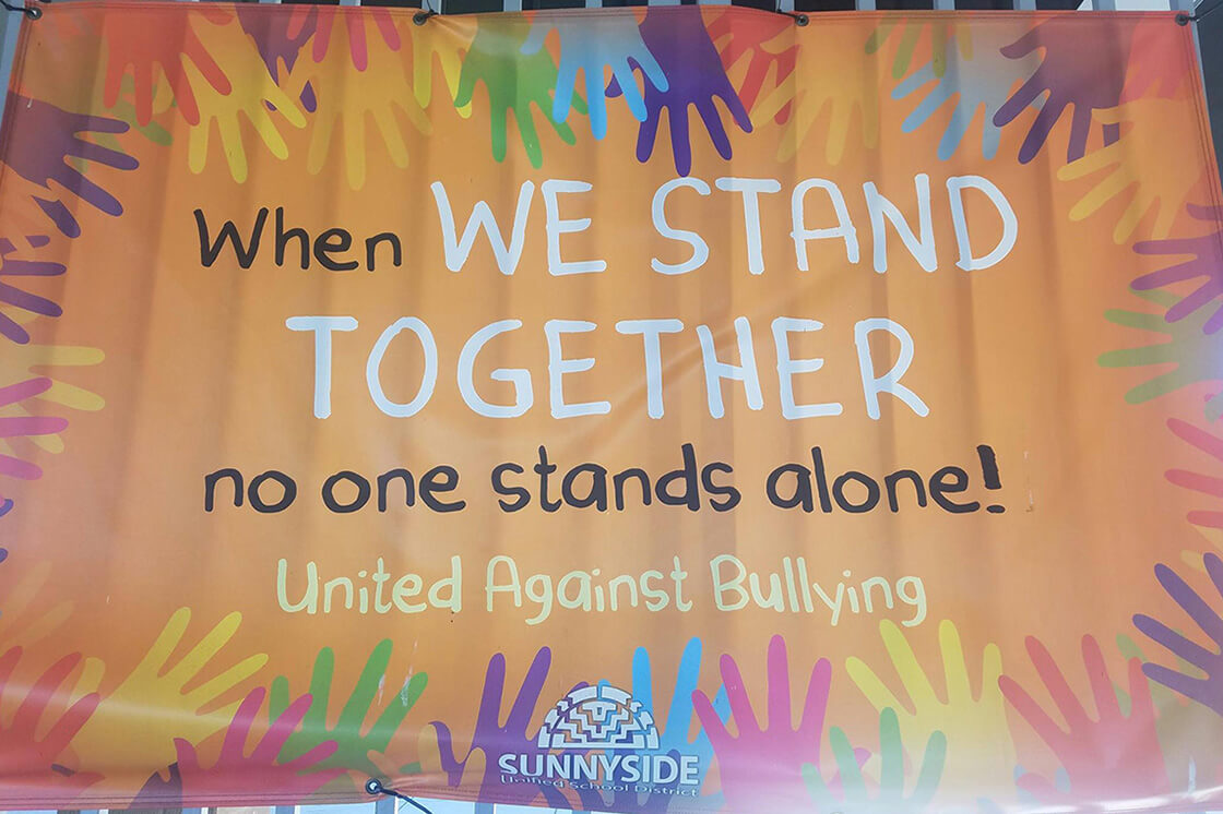 We stand together antibullying banner